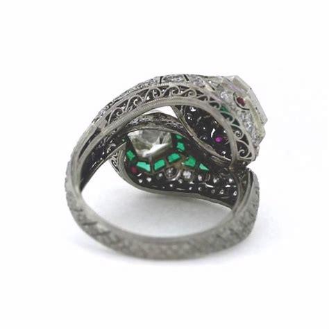 snake emerald platinum ring for sale