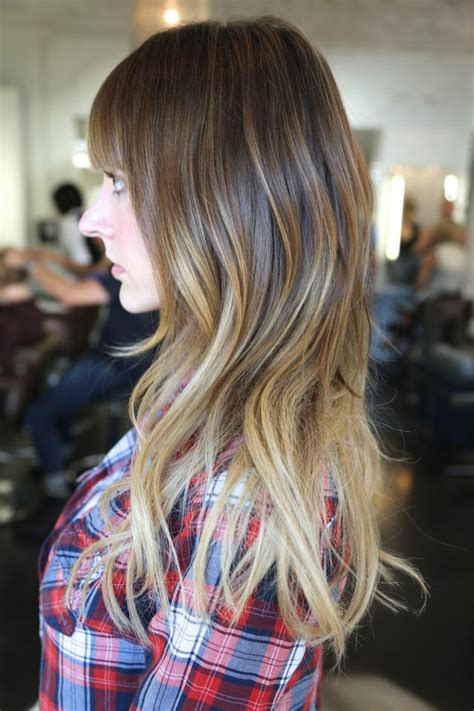 side view  pretty brown  blonde ombre hair  long
