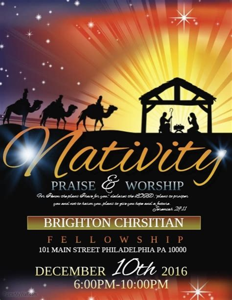 Nativity Template Postermywall Nativity Flyer Template