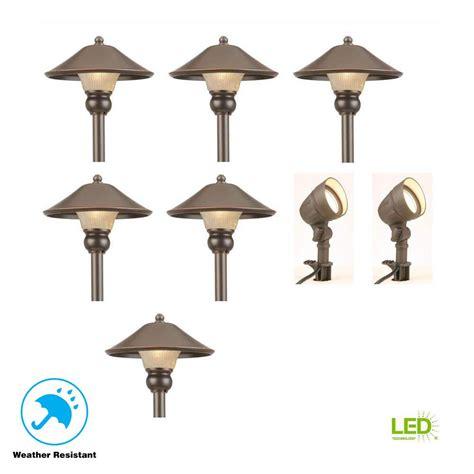 hton bay low voltage bronze outdoor integrated led landscape path light and flood light kit
