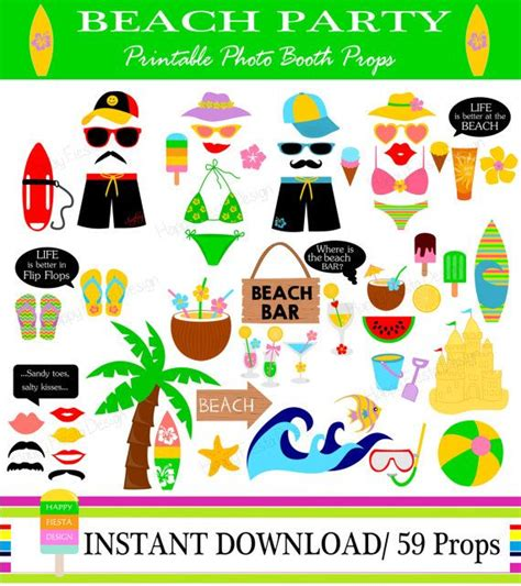 free printable photo booth props summer printable beach photo booth props photo booth sign surfing