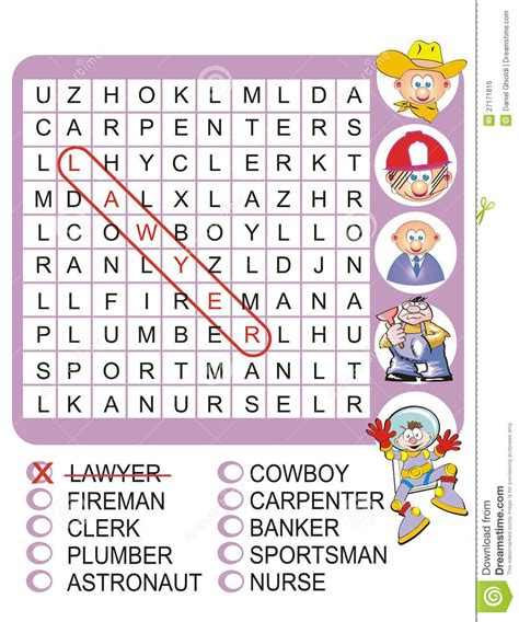 Www And Search For Mba by Find The Nine Professions Word Search Royalty Free