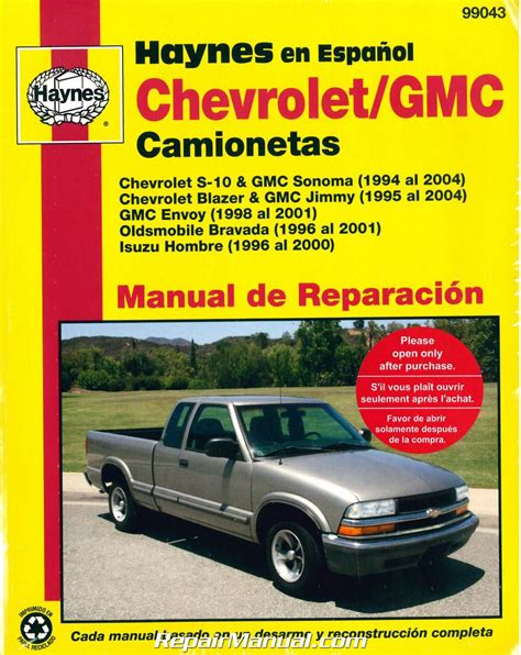 service manual hayes auto repair manual 1994 gmc safari lane departure warning service chevy s 10 gmc sonoma pick ups 1994 2004 repair manual espanol spanish