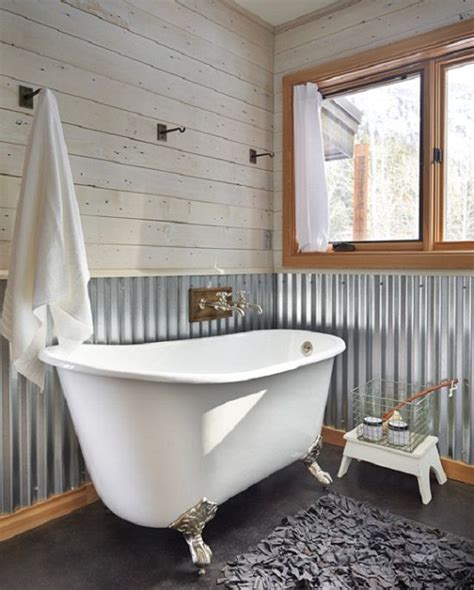 corrugated metal bathroom corrugated metal wall at chair rail height in bath home