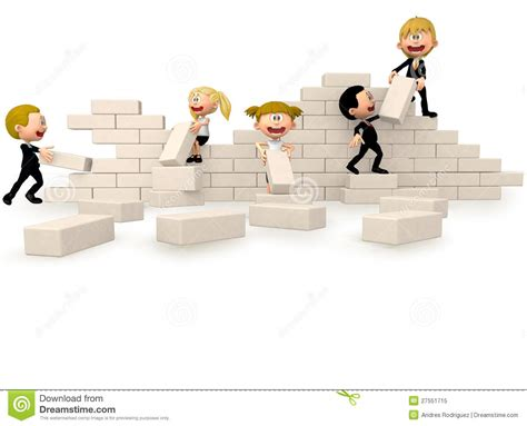 building a wall 3d business building a wall royalty free stock