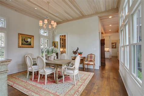 delightful Black House With White Trim #5: pickled-wood-ceiling-dining-room-shabby-chic-style-with-light-traditional-side-chairs.jpg