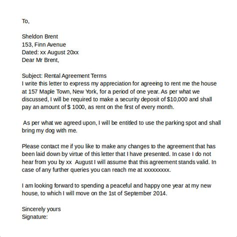 Letter Of Agreement For Tenancy Sle Rental Agreement Letter 7 Documents In Pdf Word