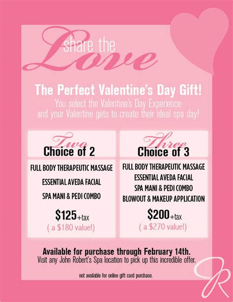 valentines spa specials customizable spa packages for valentines day robert