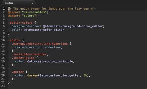 atom themes less ruedap atomcasts syntax an atom syntax theme for vim mode