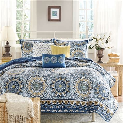 Size Coverlets And Quilts King Size 6 Quilt Coverlet Set In Blue Floral