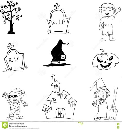doodle witch costume characters mummy witch doodle stock