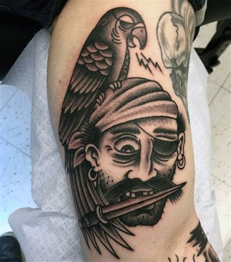pirate themed tattoos 50 pirate tattoos for arrr ships and eye patches