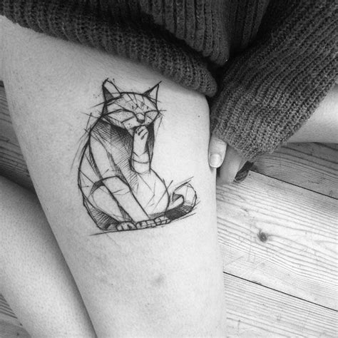 tattoo cat model geometric tattoo sketch style cat tattoo by kamil mokot