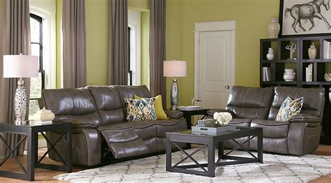 living room grey leather sectional with living room cindy crawford home gianna gray leather 5 pc living room