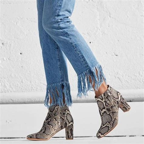 Frayed Denim shoes blue denim ankle boots thick heel