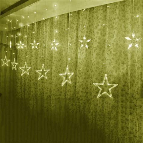 christmas window curtains 138leds ice led string strip light big stars fairy lights