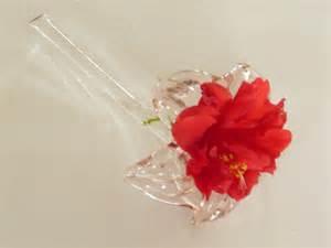 hibiscus flower vase pink glass