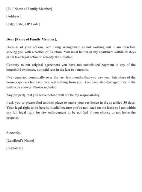 sample eviction letter family member printable