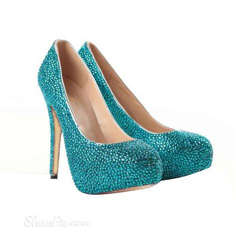 glitter blue sheepskin stiletto heel closed toe