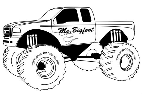 free printable monster truck coloring pages for kids