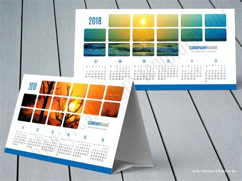 2018 Desk Yearly Tent Calendar Template Kb60 W1 Desktop