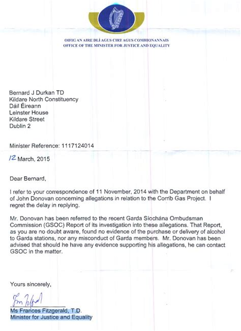 Proof Of Address Letter Ireland Donovan Invited By Justice Minister To Provide Evidence To Ombudsman