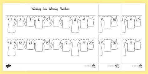 printable number washing line washing line missing number to 20 worksheet activity sheet