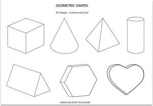 3 d shapes to print colouring pages