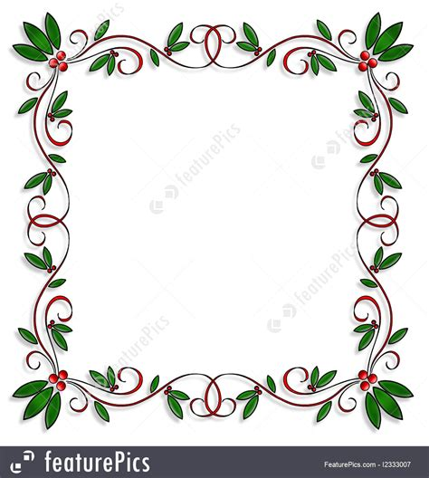 illustration  christmas design holly border square