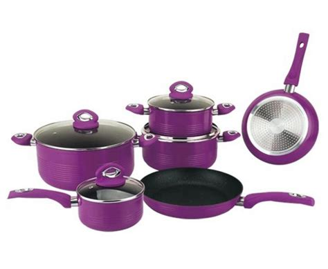 kitchen cookware bakeware cookware set forged marble purple dealsdirect co nz