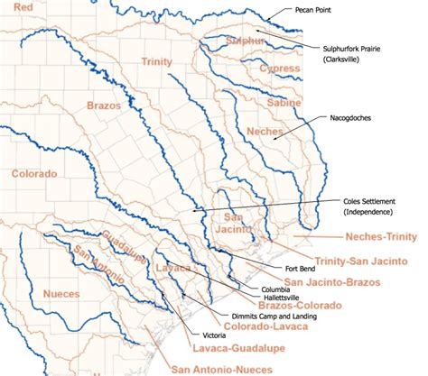 major rivers of texas map texas map of rivers