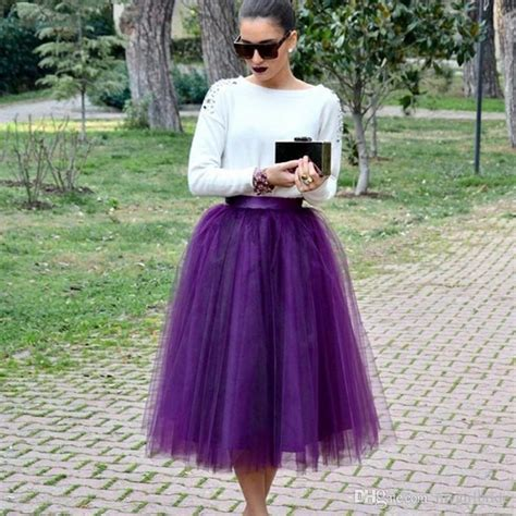2018 new arrival 2017 plus size purple tulle skirt midi