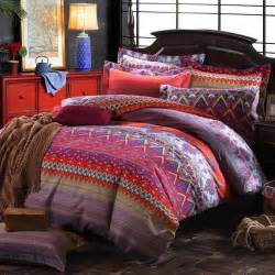 Boho Duvet Cover Sets Pink Purple And Rust Orange Chevron Stripe And Paisley