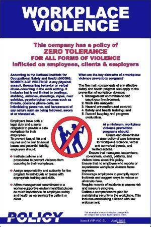 Workplace Policy Posters Workplace Violence Policy Zero Tolerance Policy In The Workplace Template