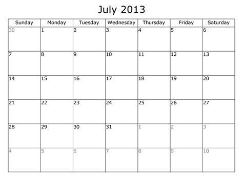 Calendar July 2013 Printable Calendar Free 2013 Calendars