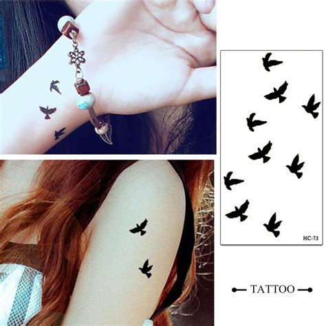 long lasting temporary tattoo lasting flying small birds waterproof