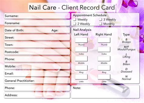 free nail technician client record card template new nail care client card treatment consultation card