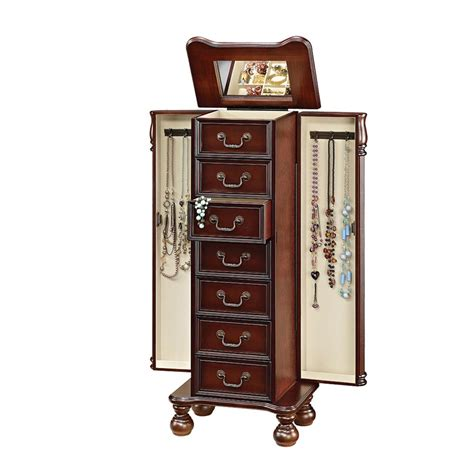 cherry jewelry armoire acme furniture lopez jewelry armoire in cherry 97006 the