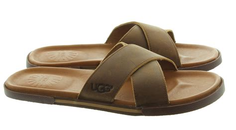 mens slide sandals ugg ithan mens slide sandals in luggage brown