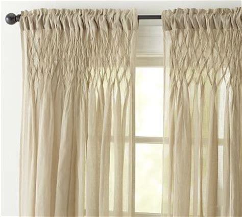 smocked sheer curtains smocked cotton voile pole pocket drape 42 x 63 quot khaki