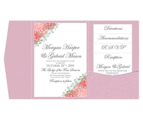 microsoft word wedding invitation templates pocket wedding invitation template set instant