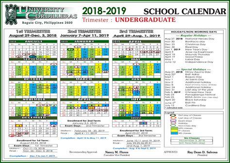 uc school calendar  sy   university   cordilleras