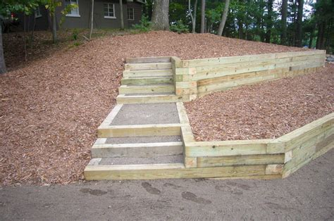 Secure Landscape Timbers Ground How To Build Steps With Landscape Timbers Chace Building