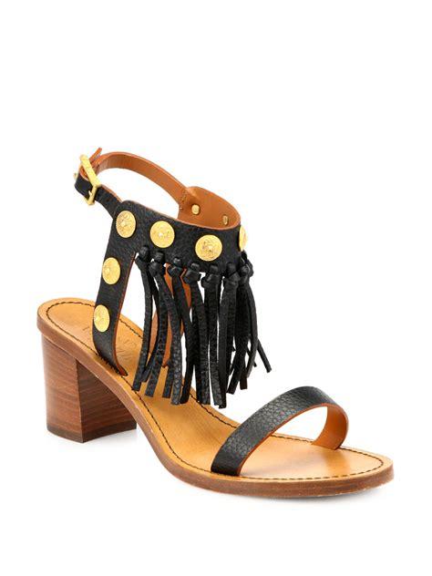 valentino studded sandals valentino studded leather fringe sandals in black lyst