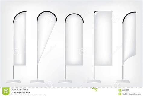 White Flag Banner Stand Stock Vector Image Of Backdrop 38889612 Feather Flag Template Vector