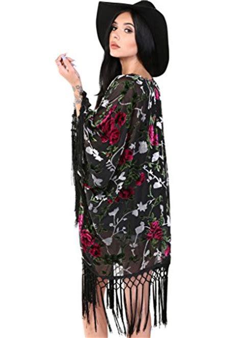 Id 896 Black Flower Kimono Cardigan black fringe sheer kimono boho cardigan with velvet floral details size x large apparel