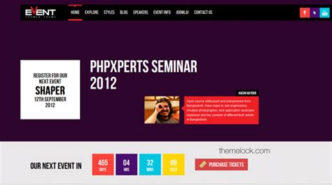 event template joomla shaper event joomshaper responsive joomla events
