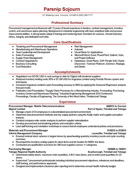 procurement consultant resume resume ideas