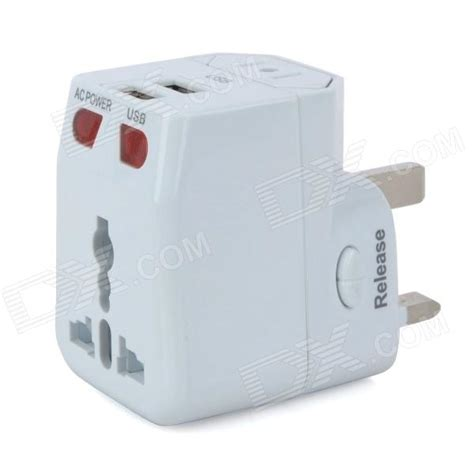 universal travel detachable ac power adapter with dual usb output white us eu uk