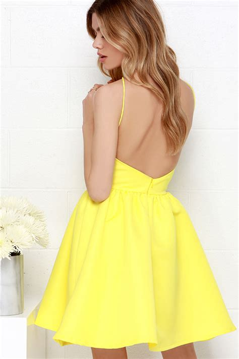 Bright Colored Wrap Dresses - yellow dress backless dress skater dress 47 00